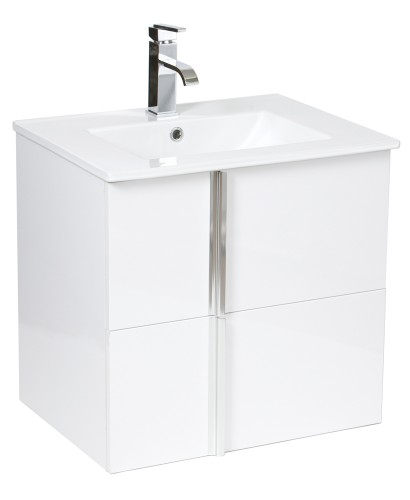 Athena White 60cm Wall Hung Vanity Unit 2 Drawer