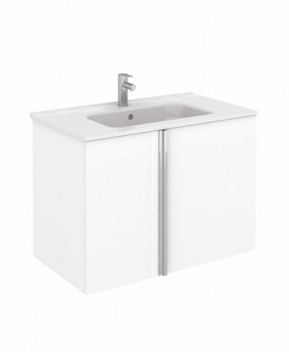 Athena 80cm Gloss White Vanity Unit with SLIM Basin - Drawers