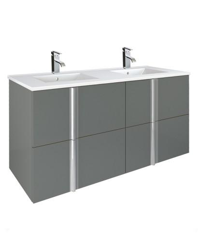 Athena Gloss Grey 120cm Double Vanity Unit 4 Drawer & Totano Basin