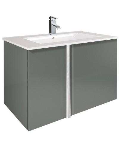 Athena Gloss Grey 80cm Vanity Unit 2 Door & Basin