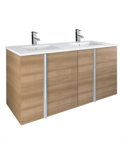 Athena Walnut 4 Door 120cm Wall Hung Vanity Unit and Basin