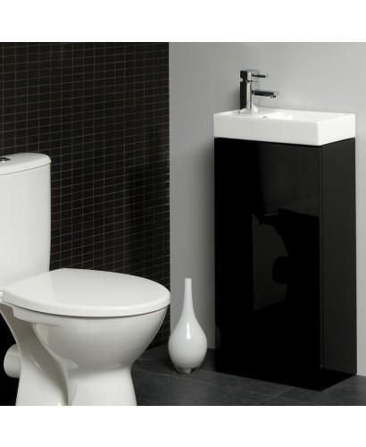 Slimline Vanity Units Space 40cm Black Floor Standing Unit