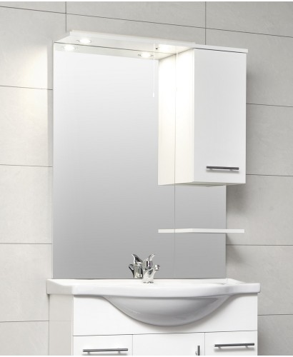 Blanco White 80cm White Mirror with LED Light & Pullcord