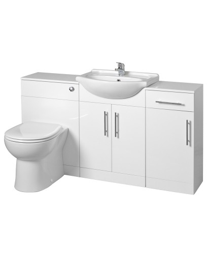 Blanco 65cm WC Combination & Floor Unit - with Twyford BTW Toilet and Soft Close Seat