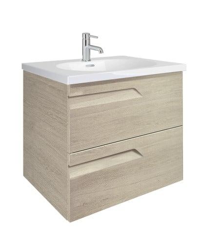 Pravia Maple 60cm Vanity Unit 2 Drawer and Aida Basin