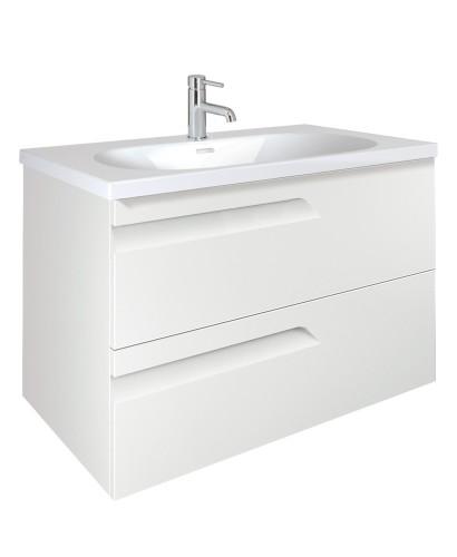 Pravia White 80cm Vanity Unit 2 Drawer and Aida Basin
