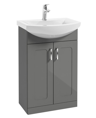 Barna 55cm Steel Grey Vanity Unit & Basin