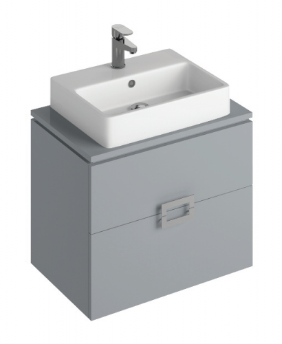 Ava Pearl Grey 65 cm Wall Hung Vanity Unit and BROOK Countertop Basin