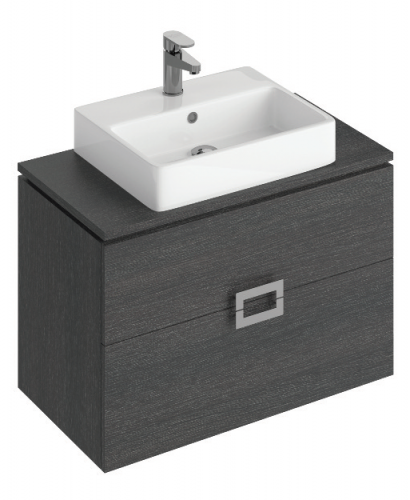 Ava 80cm Base Unit Dark Wood & Brook Basin