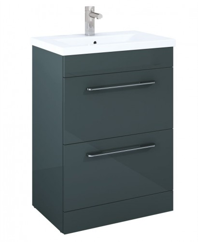 Carla 60cm Vanity Unit 2 Drawer Gloss Grey and Basin