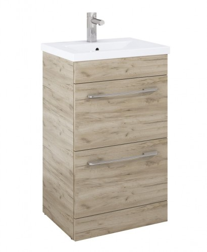 Carla 50cm Vanity Unit 2 Drawer Craft Oak and Basin
