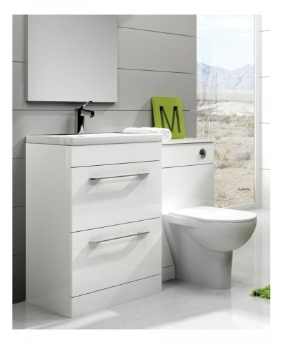 Carla White Slimline 50cm Combination Unit - 2 Drawer - 1120mm - with Toilet