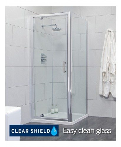 Cello 900 x 800mm Pivot Shower Door - includes 800mm side panel