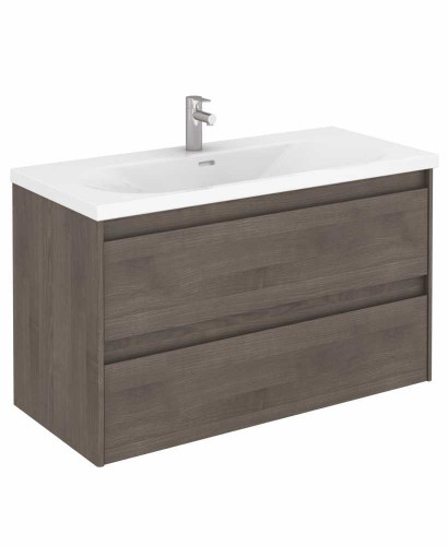 Vichy Ash 100 cm Wall Hung Vanity Unit and Aida Basin
