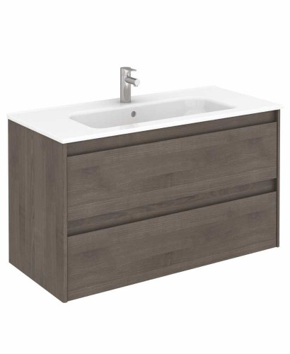 Vichy Ash 100 cm Wall Hung Vanity Unit and Slim Basin