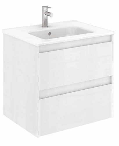Vichy Gloss White 60 cm Wall Hung Vanity Unit and Slim Basin