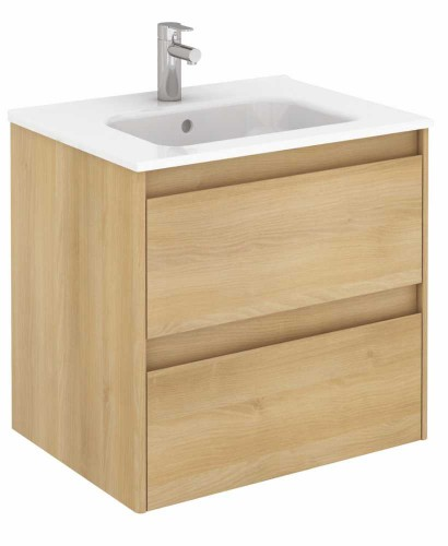 Vichy Oak 60 cm Wall Hung Vanity Unit and Slim Basin - ** Over 50% off