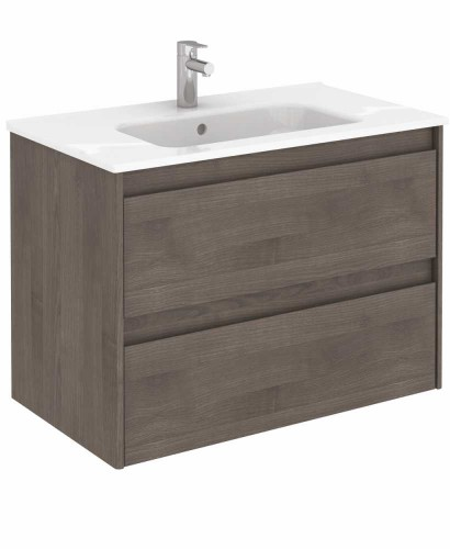Vichy Ash 80 cm Wall Hung Vanity Unit and Slim Basin