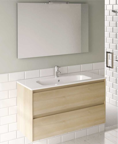 Vichy Oak 80 cm Wall Hung Vanity Unit and Slim Basin