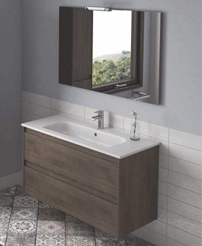 Slim Wall Hung Basin : Vichy Ash 100 cm Wall Hung Vanity Unit and Slim Basin