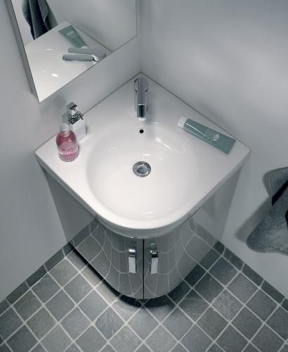 Grey Corner Vanity Unit Floor Standing Basin