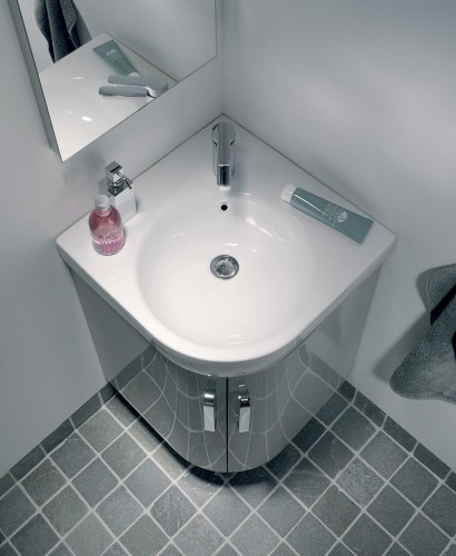 E200 500 Grey Corner Vanity Unit Wall Hung With 1th Basin