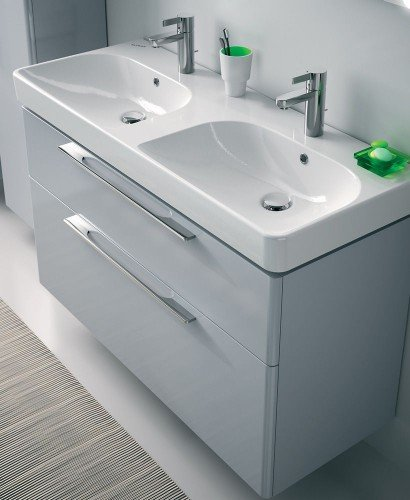 Twyford E500 1200 Grey Double Vanity Unit Wall Hung - PRICE INCLUDES UNIT AND DOUBLE BASIN