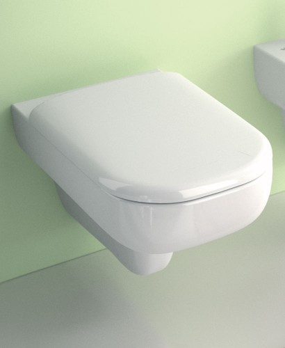 Twyford E500 Square Wall Hung Toilet & Standard Seat