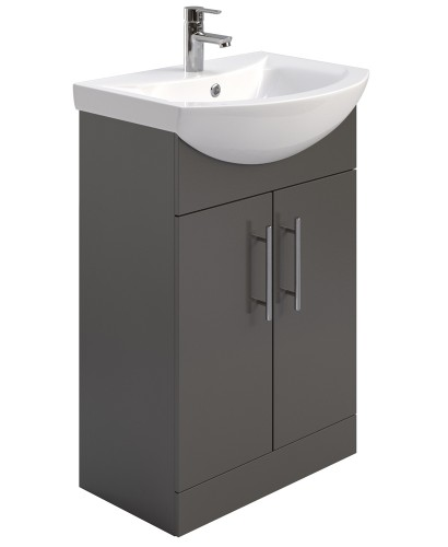 Blanco Gloss Grey 55cm Vanity Unit & Basin