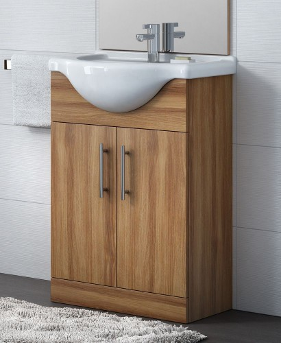Blanco Walnut 55cm Vanity Unit, Basin