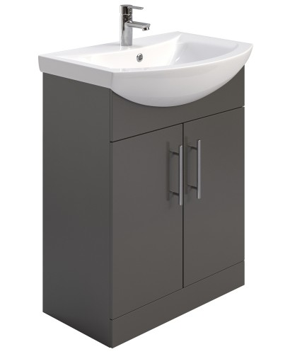 Blanco Gloss Grey 65cm Vanity Unit & Basin