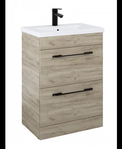 Carla 60cm Vanity Unit 2 Drawer Craft Oak and Basin