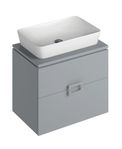 Ava Pearl Grey 65 cm Wall Hung Vanity Unit and ENYA Countertop Basin