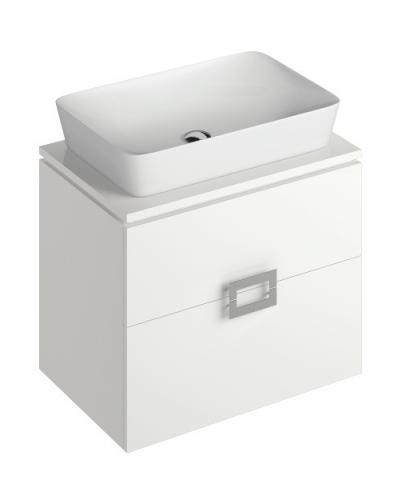 Ava White 65 cm Wall Hung Vanity Unit and ENYA Countertop Basin