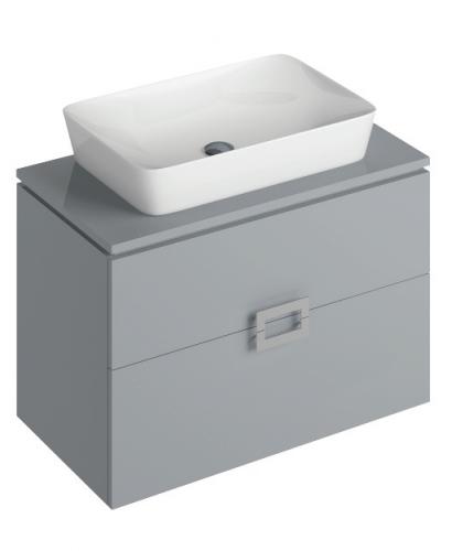 Ava Pearl Grey 80 cm Wall Hung Vanity Unit and ENYA Countertop Basin