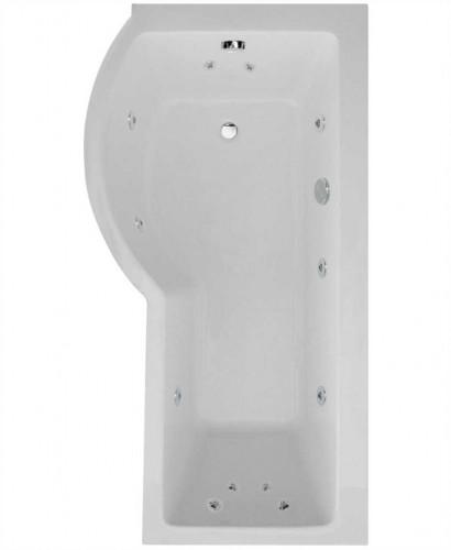 P Shaped 1700 x 900 shower bath Left hand 12 jet bath cw Panel & Bath screen