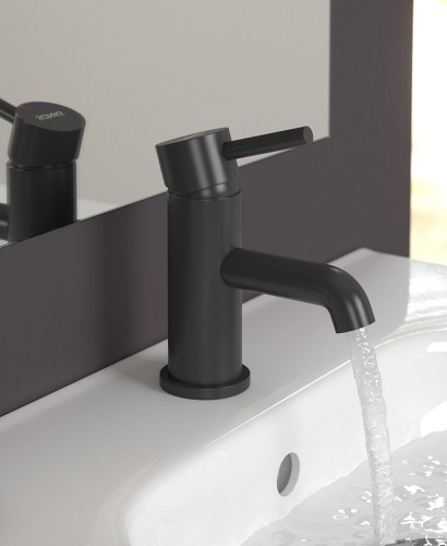 Harper Black Cloakroom Basin Mixer with FREE Click Clack Basin Waste