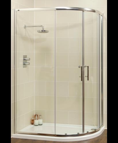 Kyra Range 1200x900 Offset Quadrant Two Door Shower Enclosure - Adjustment 1155 -1180mm + 850 - 880mm