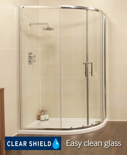 Kyra Range 1200x900 Offset Quadrant Two Door Shower Enclosure - Adjustment 1155 -1180mm + 850 - 880mm