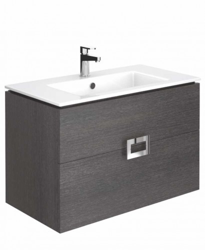 Ava Dark Wood 80 cm Wall Hung Vanity Unit and Basin ** Further Reductions**