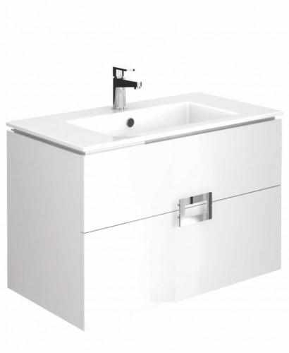 Ava Gloss White 80 cm Wall Hung Vanity Unit and Basin