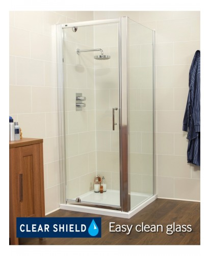 Kyra Range 760 800 X 800mm Pivot Shower Door Adjustment With Side Panel 745