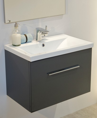 Vanore Antracite  Slimline 60cm Wall Hung Vanity Unit