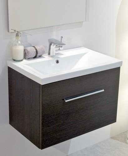 Vanore Dark Wood Slimline 50cm Wall Hung Vanity Unit