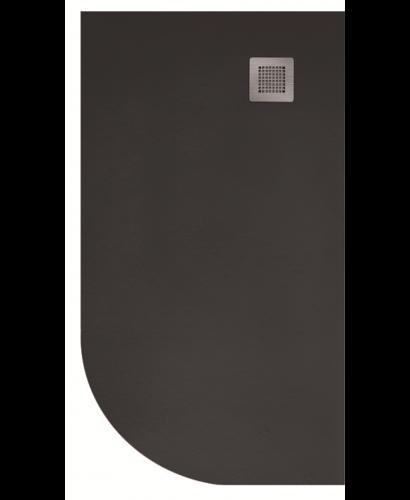 Slate 1000X800 Offset Quadrant Shower Tray RH Black - with FREE Waste