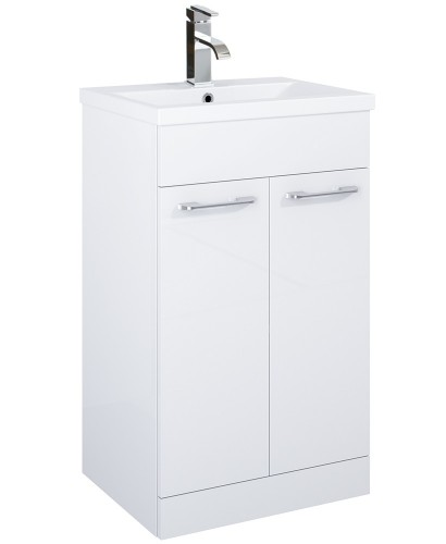 Paola 50cm Slimline Vanity Unit 2 Door White and Basin