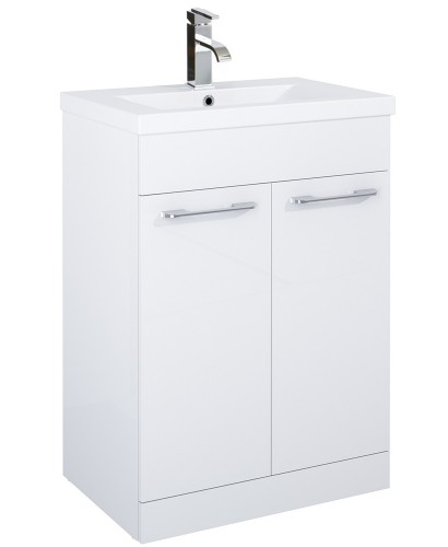 Paola 60cm Slimline Vanity Unit 2 Door White and Basin