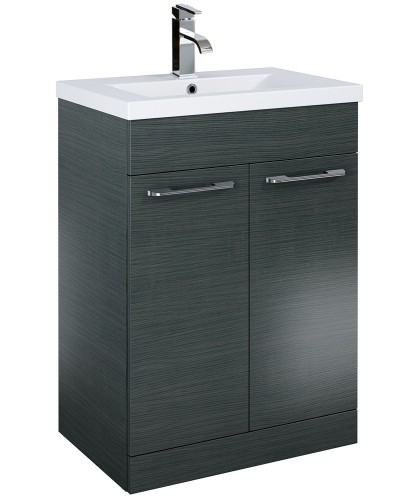 Paola 60cm Slimline Vanity Unit 2 Door Grey and Basin