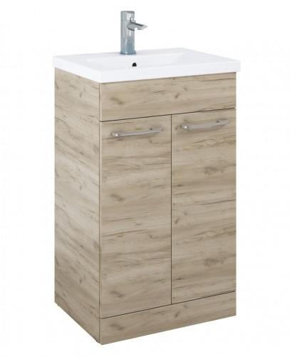 Paola 50cm Slimline Vanity Unit 2 Door Craft Oak and Basin
