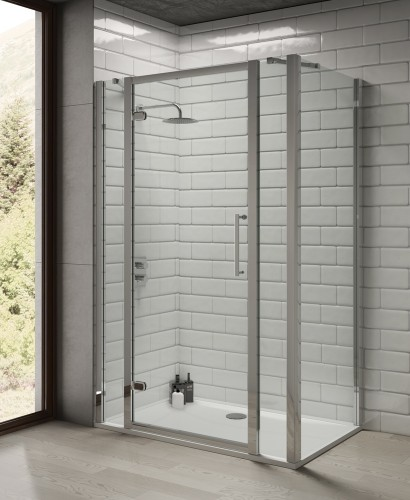 Rival 8mm 1300 Hinge Shower Door with Double Infill Panel - Adjustment 1240 - 1300 mm